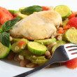 Stock Photo: Italichicken, with zucchini, beans and tomato