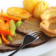 Stock Photo: Roast beef and Yorkshire puddings