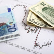 Chart of an active period of trading on the Dollar-Euro markets — Stockfoto