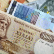 Drachma and euro notes horizontal - Stock Photo