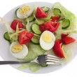 Plate of salad with fork - Stock Photo