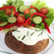Baked potato and cottage cheese vertical — Stock Photo