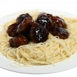 Sweet and sour meatballs and noodles — Stock Photo