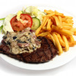Stock Photo: Steak and mushroom sauce