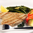 Grilled tuna meal with fork — Stock Photo