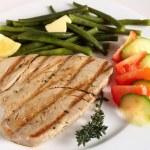 Grilled tuna steak meal — Stock Photo