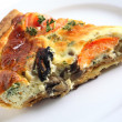 Stock Photo: Quiche slice on white plate