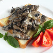 Toast with mushrooms in cream sauce — Stock Photo
