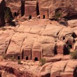 Tombs in the hillside at Petra - Foto Stock