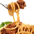 Spaghetti bolognese on a fork — Stockfoto