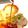 Roast beef and gravy — Stock Photo