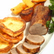 Roast beef high angle — Stock Photo