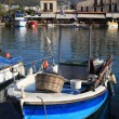 Fishing boat and tavernas, Rethymnon Crete — Stock Photo