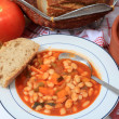 Greek white bean soup horizontal - Stock Photo