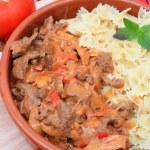 Beef stroganoff meal vertical — Stock Photo