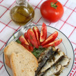 Stock Photo: Sardines bread and tomato vertical