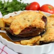 Aubergines with meat and bechamel — Stock Photo
