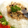 Turkey in mushroom cream sauce — Stock Photo
