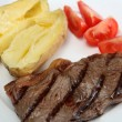 Stock Photo: Grilled New York steak with veg
