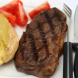 Stock Photo: Broiled New York steak and veg