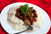 Chili con carne and rice from above — Stock Photo