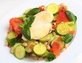 Italian chicken with zucchini, beans and tomato — Stock Photo