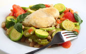 Italian chicken, with zucchini, beans and tomato — Stock Photo