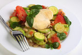 Italian chicken and vegetables with a fork — Stock Photo