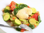 Italian chicken and vegetables side view — Stock Photo