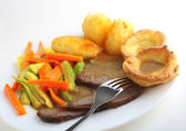 Roast beef meal side view — Stock Photo