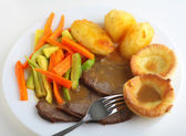 Roast beef dinner high angle view — Stock Photo