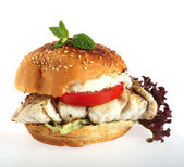 Fish burger white background — Stock Photo