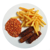 A typical English fast-food meal of fish fingers, beans and chips — Stock Photo