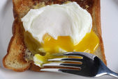 Poached egg close-up — Stock Photo