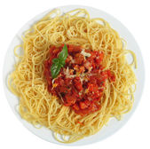 Spaghetti Pomodoro from above — Stock Photo