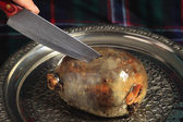 Cutting the haggis — Stock Photo