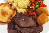 Roast beef meal from above — Stock Photo