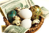 A nest egg, perhaps, or else all the eggs in one basket. — Stock Photo