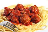 Spaghetti and meatballs — Stock Photo