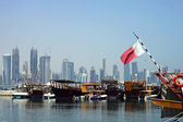 Doha harbour and towers — Stock Photo