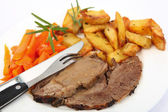 Roast lamb meal — Stock Photo