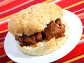 Sloppy joe with chili — Stock Photo