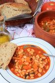 Greek white bean soup vertical — Stock Photo