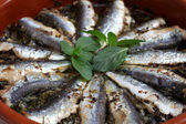 Sardines baked in a terracotta bowl — Stock Photo