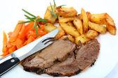 Roast lamb and veg mediterranean style — Stock Photo