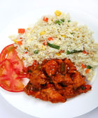 Chicken sweet and sour with rice — Stock Photo