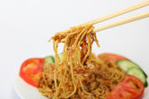 Noodles with chicken garlic and chilli — Stock Photo