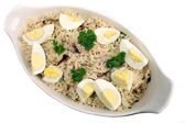 Kedgeree rice with eggs and parsley — Stock Photo