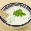 Tzatziki dip and brown bread - Stok fotoraf