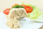 Chicken meat pate and salad — Stock Photo